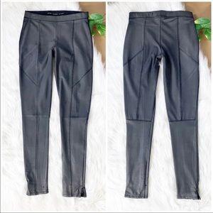 Zara Metallic Gray Leggings Pull On Elastic Wax